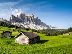 Alpine meadow, alpine hut, mountains, Unesco Heritage, Geisler, Odle