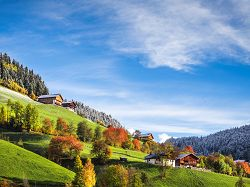 landscape, autumn, winter, farm, alpine